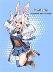 1girl absurdres animal_ears black_bow blue_bow blue_legwear blue_nails blue_skirt blush boots bow bunny_ears bunny_pose bunny_tail character_request copyright_name eyebrows_visible_through_hair highres horns long_hair long_sleeves looking_at_viewer nail_polish open_mouth phantasy_star phantasy_star_online_2 red_eyes sakura_chiyo_(konachi000) silver_hair skirt smile solo tail thighhighs