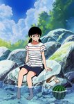 1girl 49s-aragon bangs barefoot black_hair blue_sky cloud cloudy_sky day food fruit full_body original outdoors rock shirt shoes shoes_removed short_sleeves shorts sitting sitting_on_rock sky smile soaking_feet solo striped striped_shirt twintails water watermelon