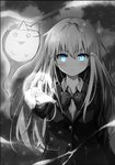 1girl :3 arm_at_side bangs blazer blue_eyes bow bowtie buttons closed_mouth collared_shirt commentary_request eyebrows_visible_through_hair frown ghost glowing glowing_eyes greyscale hair_ornament highres hyurasan jacket light light_particles long_hair long_sleeves looking_at_viewer magic monochrome o_o original pointing pointing_at_viewer shirt sidelocks solo spot_color star star_hair_ornament tongue tongue_out triangular_headpiece upper_body v-shaped_eyebrows wind wing_collar