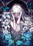 1girl absurdres anemone_(flower) azuki_(azuki-taste) bags_under_eyes bare_arms blue_flower blue_rose bug butterfly camisole dark flower hands_on_own_head high_contrast highres insect lily_(flower) long_hair looking_at_viewer original pale_skin purple_eyes rose solo strap_slip thorns upper_body wavy_hair white_flower white_hair white_rose