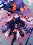1girl abigail_williams_(fate/grand_order) absurdres asymmetrical_legwear black_bow black_headwear black_legwear black_panties blonde_hair blush bow commentary_request fate/grand_order fate_(series) hat hat_bow highres huge_filesize keyhole long_hair multiple_bows multiple_hat_bows orange_bow panties red_eyes revealing_clothes single_thighhigh skull_print solo stuffed_animal stuffed_toy suction_cups teddy_bear thighhighs topless underwear very_long_hair witch_hat yaekn