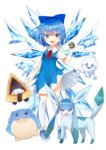 1girl :d absurdres blue_bow blue_dress blue_eyes blue_hair bow cirno crossover dress full_body gen_3_pokemon gen_4_pokemon gen_5_pokemon glaceon hair_bow highres holding holding_poke_ball kneehighs looking_at_viewer neck_ribbon open_mouth poke_ball pokemon quick_ball red_ribbon ribbon sakipsakip short_dress short_hair short_sleeves simple_background smile snorunt spheal standing touhou vanillish white_background white_legwear