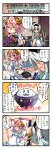 2girls blue_eyes comic fish food highres konpaku_youmu multiple_girls nanaroku_(fortress76) pink_hair red_eyes rice saigyouji_yuyuko short_hair silver_hair touhou translated
