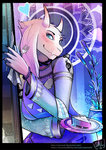 1girl animal_ears black_nails blue_eyes border breasts catcouch choker doorway dress fingernails fork furry goat_ears horns looking_at_viewer nail_polish pie sharp_fingernails smile snail snout solo toriel undertale watermark web_address
