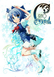 15_(tooka) 1girl ascot blue_eyes blue_hair boots bow cirno dress hair_bow salute smile snowflakes solo touhou wings