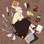 1girl :t amase_(yagami666) aran_sweater artoria_pendragon_(all) black_apron black_ribbon blonde_hair bowl chocolate english fate/grand_order fate_(series) food from_side full_body hair_ribbon hamburger housewife knife long_hair long_sleeves mixing_bowl pale_skin ponytail pout ribbon saber_alter slippers socks solo spoon sweater thinking turtleneck turtleneck_sweater whisk yellow_eyes