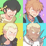 ! 4boys black_hair blonde_hair blush constricted_pupils crossover dark_skin dark_skinned_male earrings fangs fushigi_yuugi gakuran gamagoori_ira green_eyes headband hibiki_ryouga jewelry kill_la_kill male_focus multiple_boys necklace open_mouth orange_hair persona persona_4 piercing ranma_1/2 scar school_uniform spikes surprised tasuki_(fushigi_yuugi) tatsumi_kanji tetsukuzu_tetsuko twitter_username