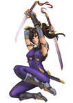 1girl alternate_color black_hair bodysuit breasts dog_hate_burger dual_wielding greaves hair_ornament hair_over_one_eye hair_stick jumping lips long_hair ninja nose player_2 ponytail scabbard sheath short_sword shoulder_pads skin_tight solo soulcalibur sword tabi taki_(soulcalibur) vambraces weapon