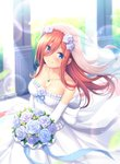 1girl bangs bare_shoulders blue_bow blue_eyes blue_ribbon blush bouquet bow breasts bridal_veil brown_hair cleavage closed_mouth collarbone commentary_request dress elbow_gloves eyebrows_visible_through_hair flower from_above gloves go-toubun_no_hanayome hair_between_eyes highres indoors jewelry large_breasts lens_flare long_hair looking_at_viewer mutsuba_fumi nakano_miku necklace ribbon rose smile solo veil wedding wedding_dress