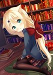 1girl animal_ear_fluff animal_ears bangs blonde_hair blue_sweater blush book book_stack bookshelf bow brown_legwear cat_ears chinomaron commentary_request crescent cushion eyebrows_visible_through_hair green_eyes hair_between_eyes hair_bow hair_ornament hairclip head_tilt highres indoors long_hair long_sleeves no_shoes original pantyhose parted_lips plaid plaid_skirt pleated_skirt red_bow red_skirt signature sitting skirt solo star sweater twitter_username very_long_hair wariza wooden_floor zabuton