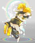 1boy 1girl 7:24 ^_^ blonde_hair checkered checkered_background closed_eyes detached_sleeves facing_away full_body grey_background hair_ribbon hands_on_another's_back highres hug kagamine_len kagamine_rin liquid rainbow ribbon sailor_collar shirt short_hair shorts simple_background stain teeth vocaloid white_ribbon white_shirt