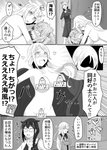 5girls absurdres bespectacled blush braid censored collar comic embarrassed exhibitionism glasses hair_flaps hair_ornament hair_ribbon hallway hibiki_(kantai_collection) highres kantai_collection long_hair monochrome multiple_girls murasame_(kantai_collection) naked_scarf navel noyomidx nude open_mouth public public_nudity remodel_(kantai_collection) ribbon scarf school_uniform shigure_(kantai_collection) single_braid the_yuudachi-like_creature translation_request umikaze_(kantai_collection) yuri
