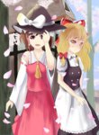 2girls apron ascot blonde_hair blue_sky blush bow brown_hair cherry_blossoms cloud detached_sleeves embarrassed facing_away hair_bow hair_ribbon hair_tubes hakurei_reimu hand_on_headwear hat hat_ribbon headwear_switch hinomoto_souya kirisame_marisa light_frown looking_at_viewer looking_down multiple_girls open_mouth outdoors payot petals red_eyes ribbon short_hair short_sleeves skirt skirt_set sky touhou tree tress_ribbon waist_apron witch_hat yellow_eyes