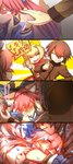 1boy 2girls 4koma ahoge animal_ears blonde_hair blue_legwear blush blush_stickers breasts brown_hair caster_(fate/extra) cleavage closed_eyes collarbone comic crying detached_sleeves dress epaulettes fate/extra fate/extra_ccc fate/grand_order fate_(series) fox_ears fox_tail hair_ribbon highres hikomaro610 japanese_clothes kishinami_hakuno_(male) large_breasts lock long_hair multiple_girls open_mouth padlock pink_hair red_dress ribbon saber_extra school_uniform tail tears translation_request wavy_mouth