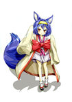 1girl animal_ears blue_hair bow fox_ears fox_tail hairband hatsuse_izuna highres japanese_clothes kimono kotou_(ko-tou) no_game_no_life orange_eyes sandals short_hair short_kimono simple_background sleeves_past_wrists tabi tail white_background