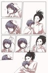 ! 2girls black_eyes black_hair boku_no_hero_academia closed_eyes comic commentary commentary_request cuddling earlobes hand_on_another's_head head_on_chest heart high_ponytail highres hug jirou_kyouka korean_text left-to-right_manga long_sleeves looking_at_another multiple_girls petting ponytail purple_hair shirt short_hair silent_comic single_sidelock smile tail_wagging translation_request vvvmung white_background white_shirt wrapping yaoyorozu_momo yuri