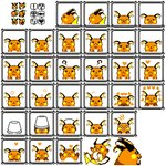 ! :3 :o ? ^_^ blush_stickers bucket bucket_on_head closed_eyes commentary derivative_work english_commentary expressions fish frame gen_1_pokemon happy heart highres jumping looking_at_viewer looking_away looking_back lovux-the-great no_humans object_on_head official_style pixel_art pokemon pokemon_(game) pokemon_rgby raichu resized sad scared skull sleeping speech_bubble sprites upscaled zzz
