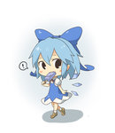 ! 1girl blue_eyes blue_hair bow chibi cirno eating hair_bow hair_ornament hair_ribbon holding kutata looking_at_viewer popsicle ribbon short_hair solo spoken_exclamation_mark tagme touhou walking