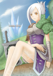 1girl armor bandages belt broken broken_sword broken_weapon brown_eyes folded_ponytail league_of_legends riven_(league_of_legends) short_hair shoulder_pads silver_hair solo sword tonnelee weapon wrist_wraps