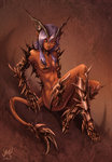 1girl 2015 black_sclera breasts claws dark_skin demon_girl demon_horns demon_tail full_body horns maxa' navel nude original pointy_ears purple_hair red_eyes signature sitting small_breasts solo spikes tail