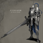 ambiguous_gender armor boots commentary_request faulds full_armor greaves helmet holding holding_sword holding_weapon huge_weapon keemu_(occhoko-cho) knight pauldrons pixiv_fantasia pixiv_fantasia_revenge_of_the_darkness plate_armor solo standing sword weapon