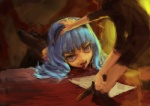 1girl :p bad_id bad_pixiv_id blue_hair copyright_request hands knife licking lm7_(op-center) solo_focus table tongue tongue_out