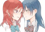 2girls bangs blue_hair blush bow bowtie closed_mouth collared_shirt eye_contact eyebrows_visible_through_hair hair_between_eyes kuma_(bloodycolor) long_hair looking_at_another love_live! love_live!_school_idol_project multiple_girls nishikino_maki parted_lips purple_eyes red_hair shirt simple_background smile sonoda_umi white_background white_shirt yellow_eyes yuri