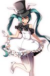 1girl ace_of_diamonds ace_of_spades animal_ears aqua_hair bare_shoulders black_bow black_hat blush bow bunny_ears card checkered checkered_bow checkered_dress club_(shape) commentary_request diamond_(shape) dress feet_out_of_frame gloves hat hatsune_miku heart high_heels long_hair looking_at_viewer orange_eyes pantyhose playing_card project_diva_(series) smile solo spade_(shape) standing standing_on_one_leg top_hat tsukishiro_saika twintails vocaloid white_dress white_footwear white_gloves white_legwear