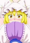 1girl blonde_hair blush commentary_request covering_face embarrassed eyebrows_visible_through_hair hands_in_sleeves hands_up hat long_sleeves looking_at_viewer nose_blush pillow_hat pink_background poronegi short_hair solo sweatdrop tabard touhou upper_body wide-eyed yakumo_ran yellow_eyes