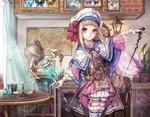 1girl arm_up belt book bookshelf brown_coat brown_eyes brown_hair bug butterfly buttons capelet clock coat commentary_request curtains dress dual_wielding garter_straps globe gloves glowing hat insect insect_collection lantern long_hair magic magic_circle map nakasaki_hydra original outstretched_arms photo_(object) pink_dress pixiv_fantasia pixiv_fantasia_t plant potted_plant skirt smile solo staff table tailcoat thigh_strap thighhighs vial wand white_capelet white_gloves white_hat white_legwear white_skirt window wings