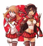 2girls anchor cherry_blossoms cosplay fang haruka_(pokemon) haruka_(pokemon)_(remake) higana_(pokemon) jpeg_artifacts kantai_collection kuroi_paseri multiple_girls musashi_(kantai_collection) musashi_(kantai_collection)_(cosplay) ninja pokemon pokemon_(game) pokemon_oras yamato_(kantai_collection) yamato_(kantai_collection)_(cosplay)