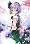 1girl ama_(997841291) bangs black_hairband black_ribbon blue_eyes blunt_bangs bow bowtie cherry_blossoms closed_mouth commentary eyebrows eyebrows_visible_through_hair frilled_skirt frilled_sleeves frills green_skirt green_vest hairband holding holding_sword holding_weapon katana konpaku_youmu konpaku_youmu_(ghost) layered_skirt looking_at_viewer petals puffy_short_sleeves puffy_sleeves ribbon sheath short_sleeves silver_hair skirt sword touhou vest weapon