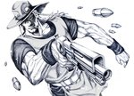 1boy blurry bullet cigarette cleft_chin cowboy_hat crosshatching emperor_(stand) graphite_(medium) greyscale gun hat highres hol_horse jojo_no_kimyou_na_bouken long_hair male_focus monochrome mouth_hold muscle nobita solo stand_(jojo) stardust_crusaders traditional_media veins weapon wristband