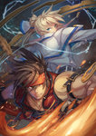 2boys back-to-back blonde_hair blue_eyes brown_hair capelet electricity fire forehead_protector gears guilty_gear guilty_gear_xrd highres ky_kiske long_hair male_focus mkd78236 multiple_boys muscle ponytail sol_badguy
