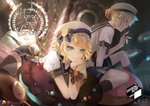 1boy 1girl artist_name beret blonde_hair blue_eyes blue_ribbon bracelet candy chin_rest chocolate claws dutch_angle emblem evil_smile fingernails food half-closed_eyes hand_on_own_chin hansel_and_gretel hat hat_ribbon head_rest jewelry kagamine_len kagamine_rin kneehighs looking_at_viewer lying macaron muffin on_stomach oven oversized_food pocky profile rahwia ribbon sailor_collar sharp_fingernails short_hair short_ponytail shorts sitting smile socks sprinkles thighhighs treble_clef vocaloid when_you_see_it window zettai_ryouiki