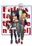 1boy 1girl archer background_text bag black_hair black_legwear casual commentary_request fate/stay_night fate_(series) food full_body long_hair pepsi popcorn shoulder_bag standing sunglasses thighhighs toosaka_rin two_side_up watch watermark web_address white_background white_hair wristwatch yaoshi_jun zettai_ryouiki