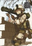 1girl armor at4 blonde_hair blue_eyes boots camouflage desert_camouflage gloves goggles hair_bun helmet highres knee_pads load_bearing_vest marine_corps marpat military military_uniform one_knee open_mouth original plate_carrier pointing pouch radio rocket_launcher scan scan_artifacts shibafu_(glock23) soldier solo squatting text_focus translation_request uniform wall weapon