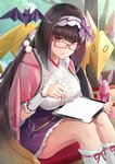 1girl :o black_hair breasts brown_hair commentary_request fate/grand_order fate_(series) floral_print frilled_shirt frills glasses gradient_hair hairband holding holding_stylus japanese_clothes kimono kneehighs large_breasts long_hair looking_at_viewer looking_over_eyewear miniskirt multicolored_hair origami osakabe-hime_(fate/grand_order) parted_lips pink_kimono pleated_skirt pom_pom_(clothes) purple_skirt red-framed_eyewear red_eyes shirt sitting skirt solo stylus tablet_pc thighs umihotaru_harumare very_long_hair white_legwear white_shirt