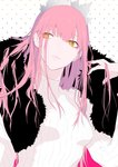 1girl bangs breasts brown_eyes closed_mouth commentary eyebrows_visible_through_hair fate/grand_order fate_(series) fingernails fur_collar hair_between_eyes hand_in_hair hand_up highres long_hair looking_away looking_to_the_side medb_(fate)_(all) medb_(fate/grand_order) nail_polish pink_hair pink_nails ribbed_sweater ryokucha_(i_cobalt) simple_background small_breasts solo sweater tiara white_background white_sweater