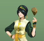 1girl avatar:_the_last_airbender avatar_(series) bad_artstation_id bad_id bangs black_hair bracelet element_bending hair_over_one_eye hand_on_hip highres hyun_sung_oh jewelry looking_at_viewer older realistic rock sash smile solo studded_bracelet swept_bangs toph_bei_fong upper_body