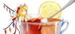 1girl blonde_hair breasts cheshuilishang covered_nipples cup cupping_glass flandre_scarlet food fruit hat in_container in_cup lemon medium_breasts minigirl red_eyes short_hair solo tea touhou wings