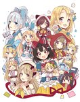 6+girls :d :o >_< absurdres alice_(wonderland) alice_in_wonderland animal animal_hood animal_on_shoulder basket bird black_hair blonde_hair blue_bow blue_eyes blue_flower blue_ribbon blush book bow bowtie braid brown_eyes brown_hair bunny_hood capelet carrying cat_hood chick closed_eyes covering_mouth crescent daisy flower frilled_bow frilled_gloves frilled_shirt_collar frilled_skirt frilled_sleeves frills gloves green_eyes hair_bun hair_flower hair_ornament hair_over_one_eye hair_over_shoulder hair_ribbon hairclip hand_on_own_chest hand_over_own_mouth hands_together head_chain head_scarf head_wings highres holding holding_basket hood hooded_capelet horns jewelry leaning_on_person little_red_riding_hood little_red_riding_hood_(grimm) long_hair looking_at_viewer minigirl multiple_girls neckerchief necklace open_book open_mouth original pearl_necklace pink_flower pink_ribbon pink_rose pocket_watch rapunzel rapunzel_(grimm) red_capelet red_hood ribbon rose sakura_oriko salute short_hair short_sleeves side_braids single_braid skirt smile tiara twin_braids two_side_up v-shaped_eyebrows watch white_flower white_gloves xd yellow_neckwear yellow_skirt