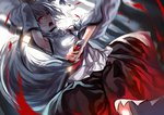 1girl animal_ears armpits blurry depth_of_field detached_sleeves dual_wielding dutch_angle hat highres holding inubashiri_momiji katana looking_at_viewer open_mouth red_eyes short_hair silver_hair slit_pupils solo sword tail tokin_hat touhou uu_uu_zan weapon wolf_ears