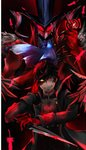 1boy amamiya_ren arsene_(persona_5) black_coat black_hair blood bloody_knife card coat gloves grin hair_between_eyes heterochromia holding holding_card holding_knife knife looking_at_viewer male_focus open_clothes open_coat persona persona_5 red_eyes red_feathers red_gloves smile solo ueno5213830 yellow_eyes
