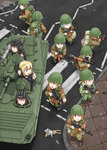 6+girls aiming ak-74 aks-74u aqua_hair assault_rifle blonde_hair blue_eyes bmp-1 brown_eyes bunny commentary doll dragunov_svd dutchko field_radio green_hair grenade_launcher gun helmet military military_uniform military_vehicle multiple_girls open_mouth original pointing ponytail red_eyes red_hair rifle road rocket_launcher rpg rpg-7 rubble russia scope sniper_rifle soviet street tank_helmet trigger_discipline underbarrel_grenade_launcher uniform weapon yellow_eyes