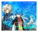 2boys atelier_(series) blue_eyes blue_hair brown_eyes coat copyright_name kirita_(noraring) long_hair male_focus mana_khemia_(series) mana_khemia_2 multiple_boys necktie rewrich_wallach rozeluxe_meitzen white_hair