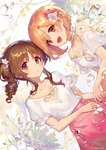 2girls :d :o aiba_yumi ainy77 artist_name bangs blonde_hair blush bra brown_eyes brown_hair choker cleavage_cutout collarbone commentary_request dutch_angle eyebrows_visible_through_hair flower hair_flower hair_ornament heart heart_choker heart_cutout highres idolmaster idolmaster_cinderella_girls looking_at_viewer multiple_girls off-shoulder_shirt off_shoulder open_mouth parted_lips pink_flower pink_skirt puffy_short_sleeves puffy_sleeves purple_flower shirt short_hair short_sleeves side_ponytail sidelocks skirt smile takamori_aiko twitter_username underwear upper_body water_drop white_background white_bra white_choker white_flower white_shirt yellow_flower