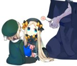 2girls abigail_williams_(fate/grand_order) babe_(fate) bangs beret black_bow black_dress black_hat blonde_hair blue_eyes bow candy caster_(fate/zero) commentary_request dress fate/grand_order fate_(series) food forehead gloves hair_bow hat holding holding_stuffed_animal lollipop long_hair multiple_girls orange_bow overalls pantyhose parted_bangs paul_bunyan_(fate/grand_order) polka_dot polka_dot_bow short_hair sleeves_past_wrists stuffed_animal stuffed_toy ume_(pickled_plum) yellow_eyes