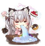1girl =_= animal_ear_fluff animal_ears bangs black_bow blush_stickers bow breasts cat_ears chibi closed_eyes commentary_request doughnut eyebrows_visible_through_hair fish_spitting_water food fruit grey_hair hair_between_eyes hair_bow hair_ornament hairclip hands_on_own_face hands_up large_breasts long_hair long_sleeves macaron ooji_cha original oziko_(ooji_cha) pink_sweater rainbow ribbed_sweater saliva solo sparkle strawberry striped striped_bow sweater table translation_request two_side_up very_long_hair
