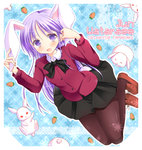 1boy animal_ears blush bunny bunny_ears bunny_tail carrot character_name crossdressing happiness! kemonomimi_mode long_hair looking_at_viewer male_focus open_mouth otoko_no_ko pantyhose purple_eyes purple_hair school_uniform skirt solo tail tamakake watarase_jun
